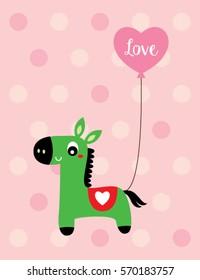 cute horse love card