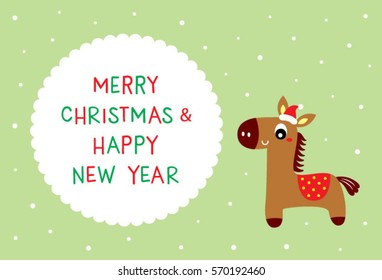 cute horse merry christmas greeting