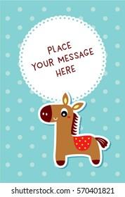 cute horse message card