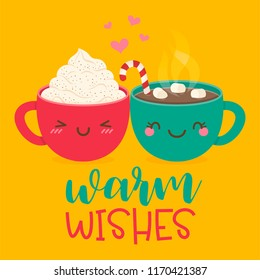 "Cute hot chocolate with marshmallows cup and hot coffee cup cartoon with text ""warm wishes"" for autumn, winter greeting card design."