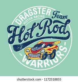 Cute Hot Rod car motor racing team, print for children wear grunge effect in separate layer