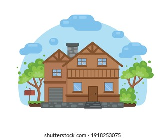 Cute house in cartoon style. House icon isolated on a white background for web and graphic design. Vector illustration
