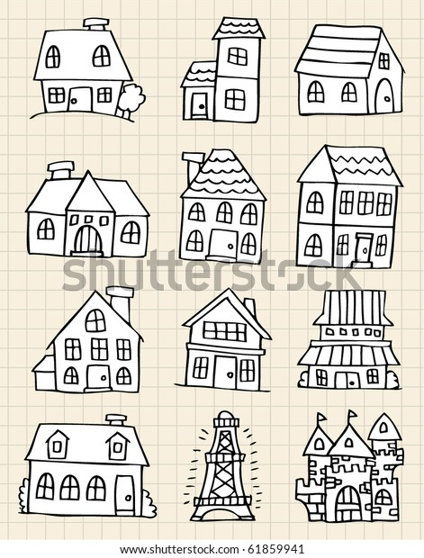 Cute House Draw Stock Vector (Royalty Free) 61859941
