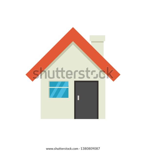 白い背景にかわいい家のアイコン ベクターイラスト のベクター画像素材 ロイヤリティフリー