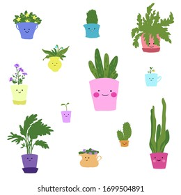 Cute houseplants with smiling faces vector illustration set
