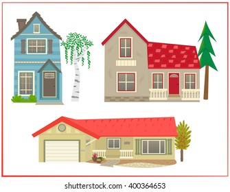 Cute houses - Cartoon set of three different types of homes. Eps10