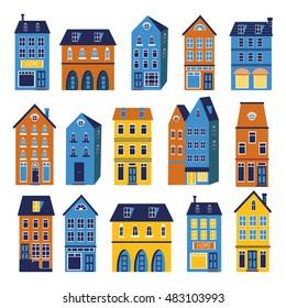 Cute houses colorful set