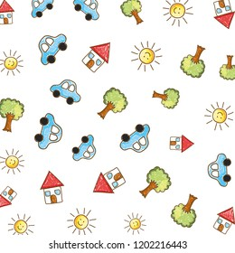 cute houses with suns and cars drawing pattern