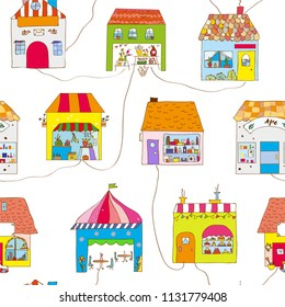 Cute houses in the town seamless pattern with street and roads. Vector graphic illustration