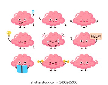 Cute human brain set. Healthy and unhealthy human organ. Vector modern style cartoon character illustration icon design. Nutrition,train,protection,mind care,brain concept