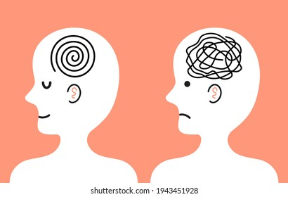 Cute  human character with tangle of messy thoughts and clear mind in head. Vector cartoon kawaii character illustration icon. Bad and good mood, depression, mental health character concept
