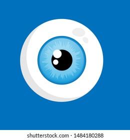 Cute human eyeball organ. funny cartoon charakter. illustration for kids
