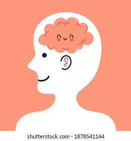 Cute human head in profile with happy brain inside. Good mood, mental, emotional condition concept. Vector cartoon character illustration icon