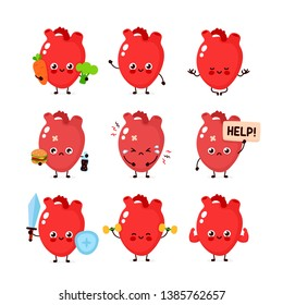 Cute human heart organ set. Healthy and unhealthy human organ. Vector modern style cartoon character illustration icon design. Bad habits,nutrition,heart protection concept