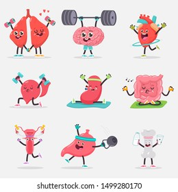 Cute human internal organ doing yoga and fitness exercises. Vector cartoon characters set isolated on background.