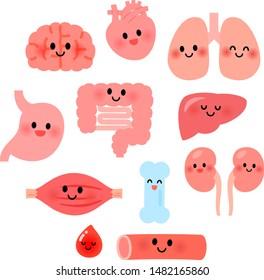 Cute human organ character illustration set