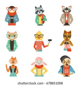 Cute humanized animals in modern and fashionable clothes set of vector Illustrations