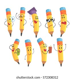 Cute Humanized Pencil Character With Arms And Face Emoji Illustrations Set
