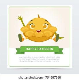 Cute humanized squash vegetable character waving its hand, happy patisson banner flat vector element for website or mobile app
