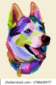 cute husky dog on pop art style.vector illustration.