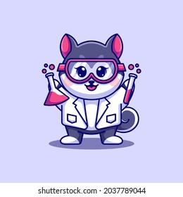 Cute husky dog scientist cartoon