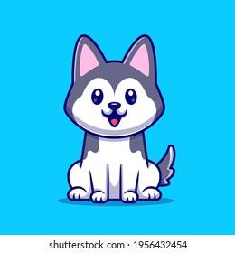 Cute Husky Dog Sitting Cartoon Vector Icon Illustration. Animal Nature Icon Concept Isolated Premium Vector. Flat Cartoon Style