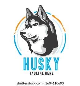 Cute Husky face in powerful angle, good for husky club lover logo