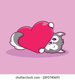 cute husky hug love cartoon illustration