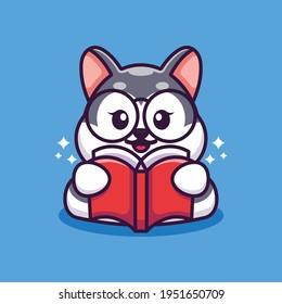 Cute husky reading book cartoon