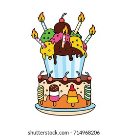 Cute ice cream birthday cake with candles vector illustration