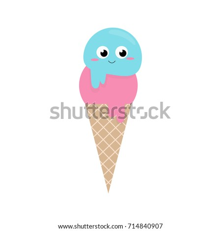 Cute Ice Cream Cornet Vector Illustration Stock Vektorgrafik
