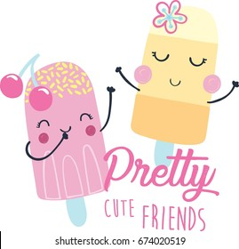 cute ice cream illustration, vector, slogan