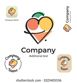 Cute Ice Cream Logo. Modern Identity Beautiful Brand Commercial and App Icon Symbol. Concept Set Template Vector