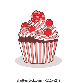 Cute icon of the cupcake. Made in the style of doodle. Vector illustration.