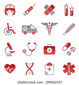 A cute icon set with lots of health care themed icons