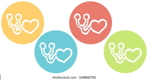 Cute Icon, Sign, Symbol, Logo Healthcare Medical Science Heart Stethoscope on Red, Blue, Green, Yellow Background. Graphic Design Resource, Element, Vector Illustration