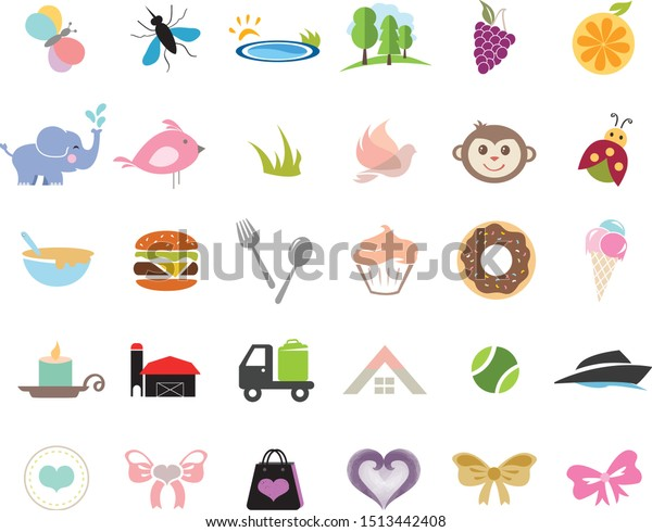 Cute Icons with animals, food and nature