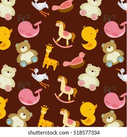 cute icons of baby shower in background. colorful design. vector illustration