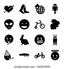 Cute Icons Set Of 16 Filled Such As Rabbit Child Bicycle