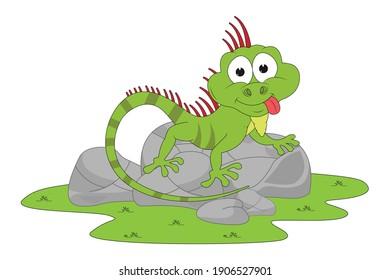 cute iguana animal cartoon, simple vector illustration