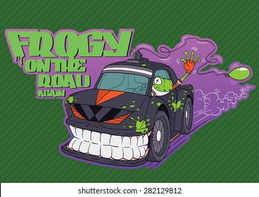 Cute illustration of an angry car and a frog driver character