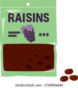 Cute illustration of a bag of raisins