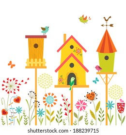 Cute illustration with bird houses, hand drawn flowers and place for your text.