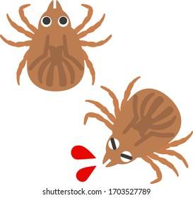 Cute illustration of a biting tick