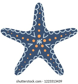 Cute illustration of blue starfish for nursery decor, prints and posters, doodle style illustration. Vector