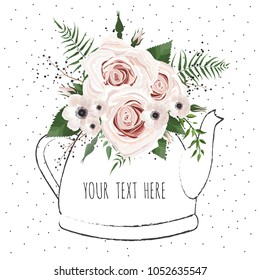 Cute illustration with a bouquet of flowers in a teapot . Vector card.
