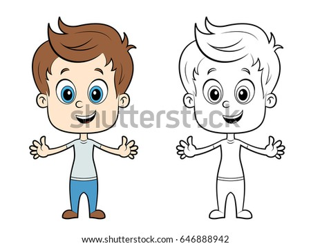 Cute Illustration Boy Color Without Color Stock Vector (Royalty Free ...