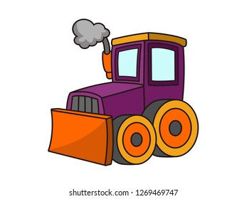 cute illustration of a bulldozer cartoon vector