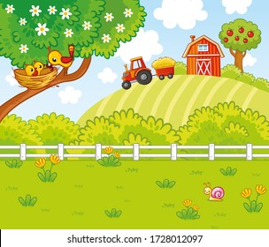 Cute illustration in cartoon style with a farm and tractor. Birds are sitting in a nest on a tree. Summer picture on an agricultural theme.