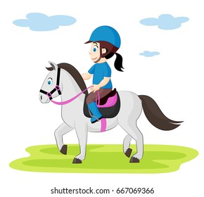 Cute Illustration Of A Child Riding Horse Horseback For Children